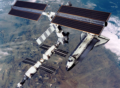 Space shuttle Docked with ISS
